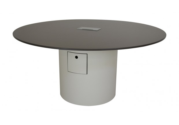 Round Conference Table Full Cylinder Base PCSMS Power Data - Conference table with power and data