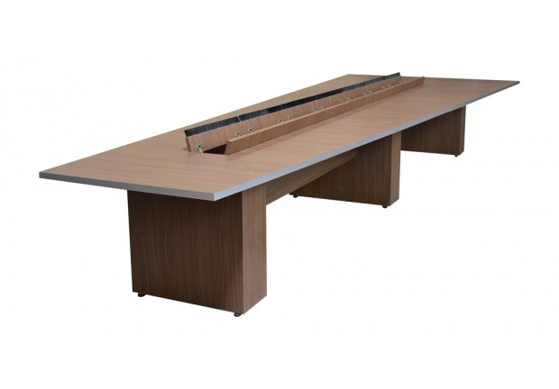 Teleconference Conference Table Thick Panel Base With Data Power - Conference table with power and data